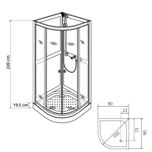 Art90R duschkabin ritning