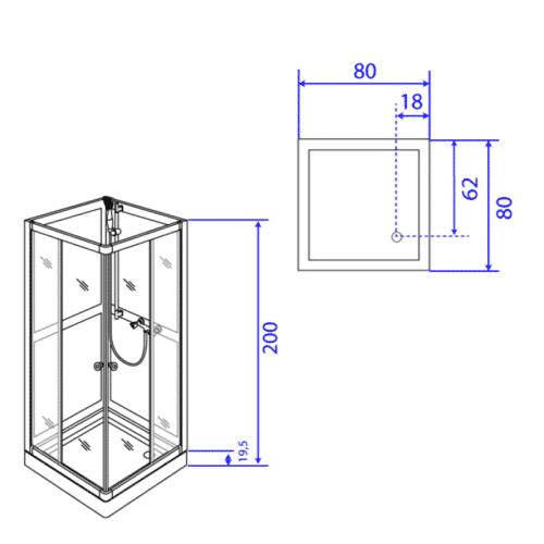 Duschkabin modell Art80F