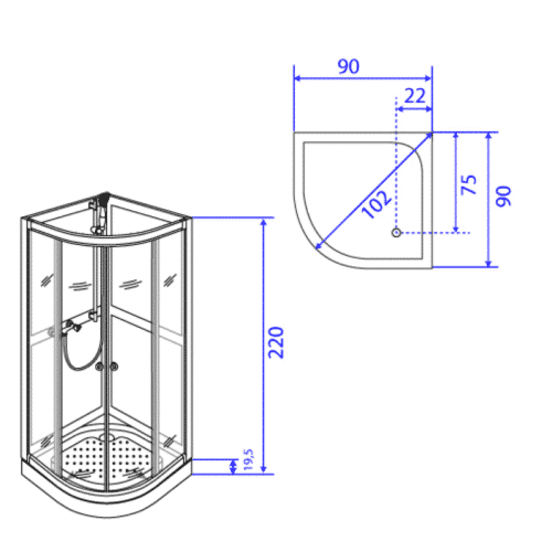 Duschkabin modell Art90R
