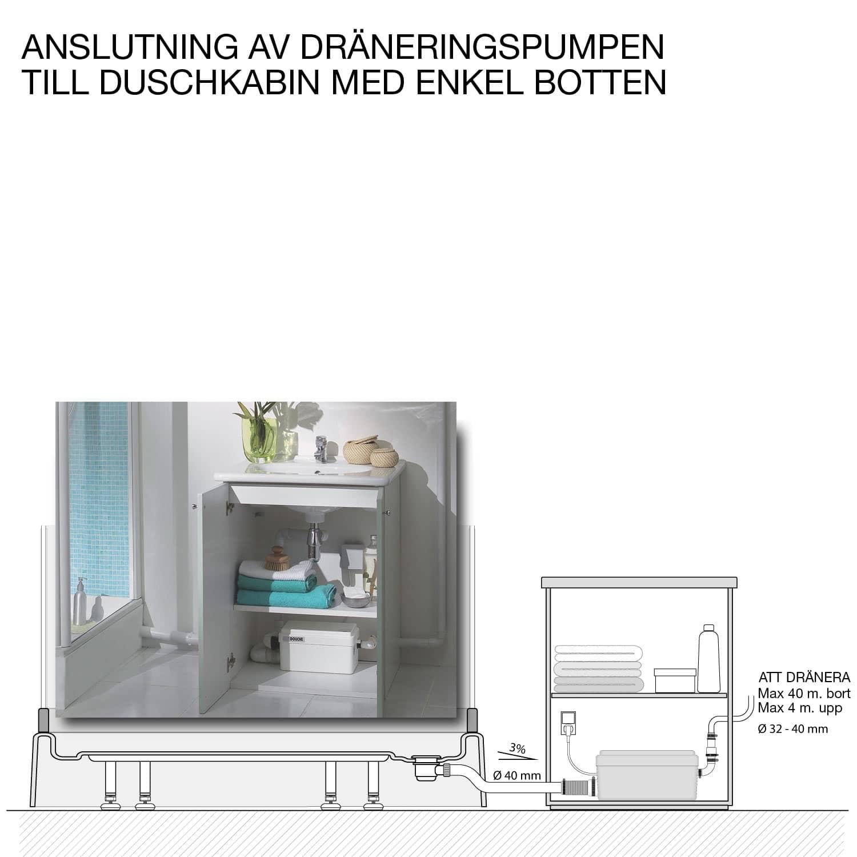 Anslutning av dräneringspumpen till duschkabin