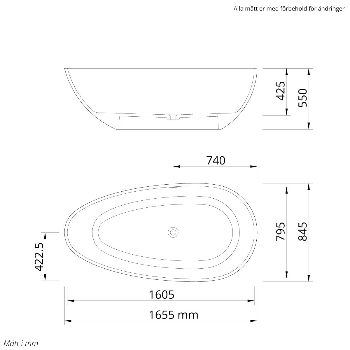 Stenbadkar modell Rimini mått